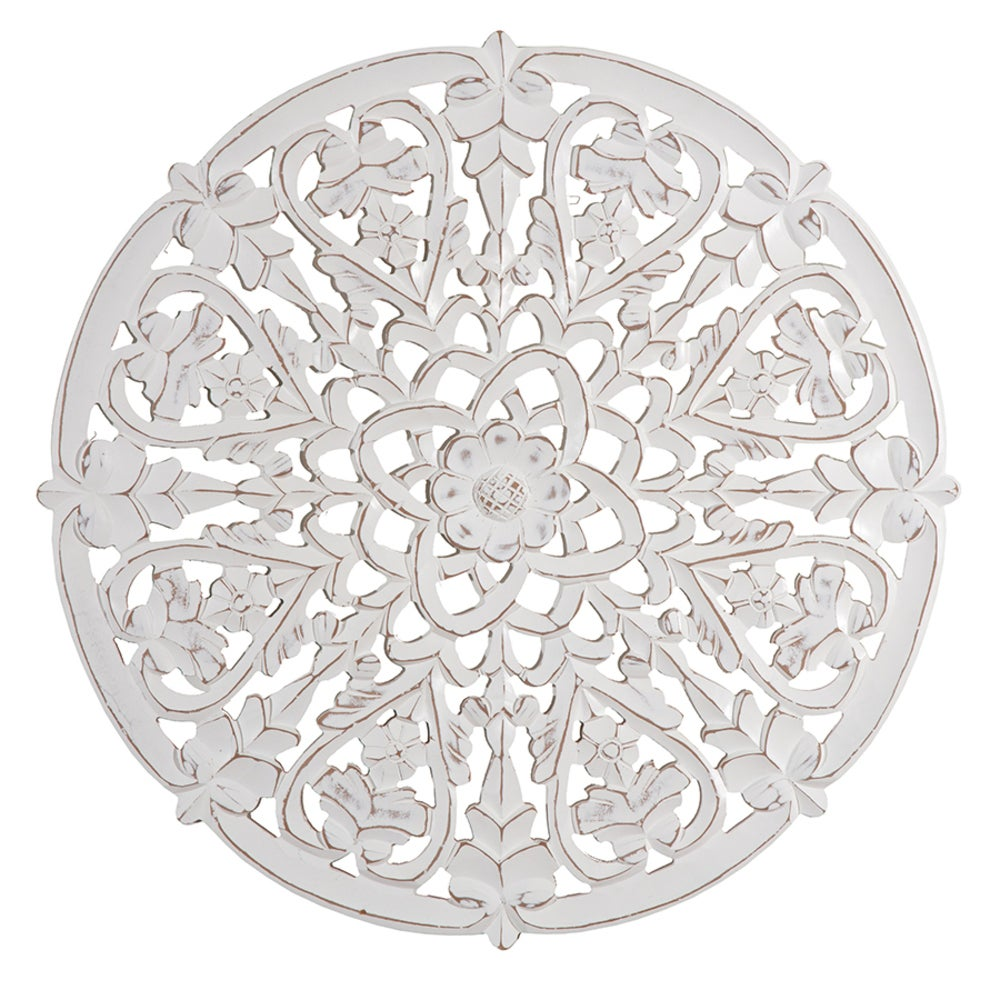 XL Hamptons Round 76cm Ornate Hand Carved Flowers w/Hearts Wall Hanging Decor WH