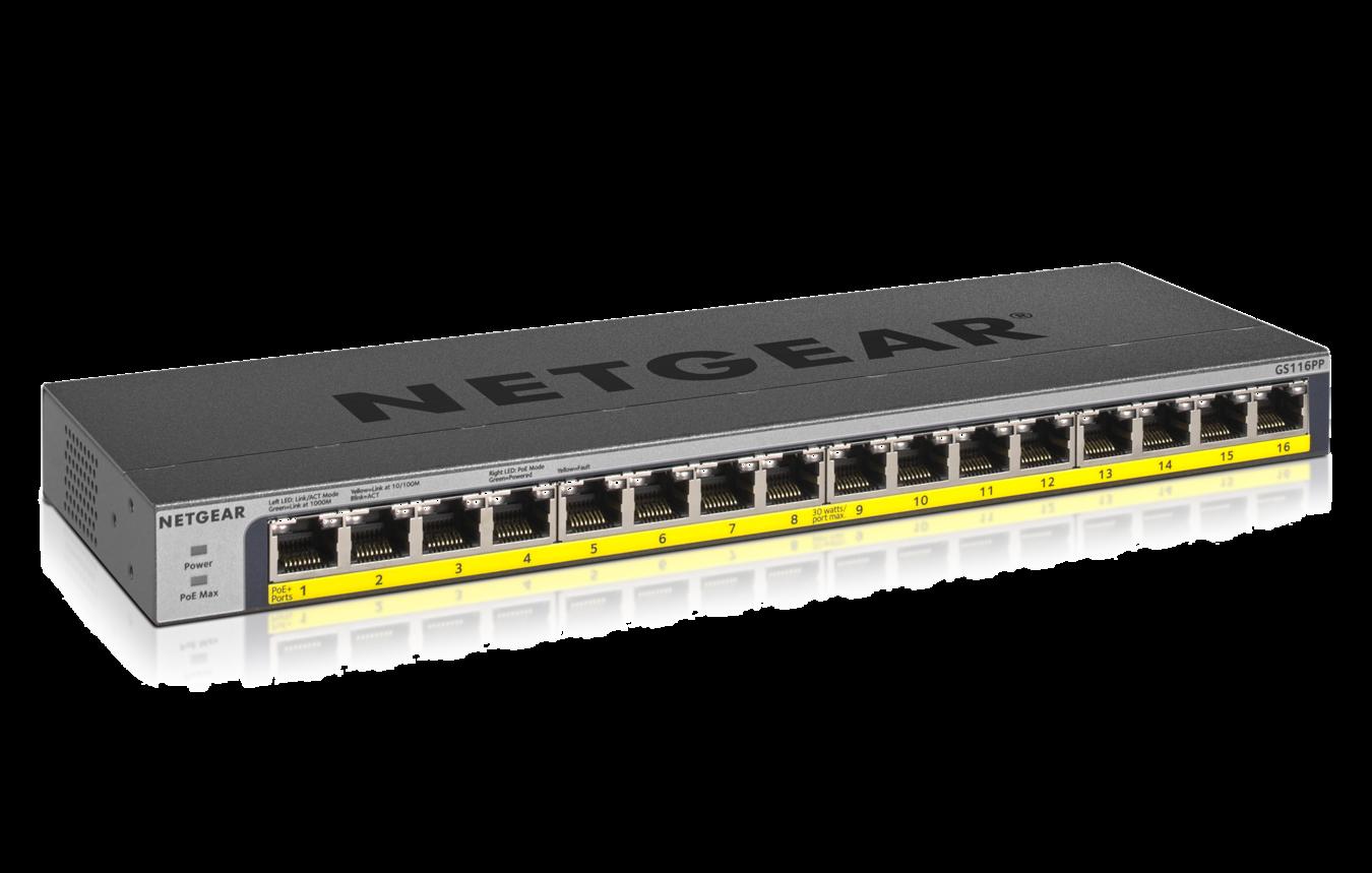 NETGEAR 16-Port PoE/PoE+ Gigabit Ethernet Unmanaged Switch with 183W PoE Budget, Rack-mount or Wall-mount (G