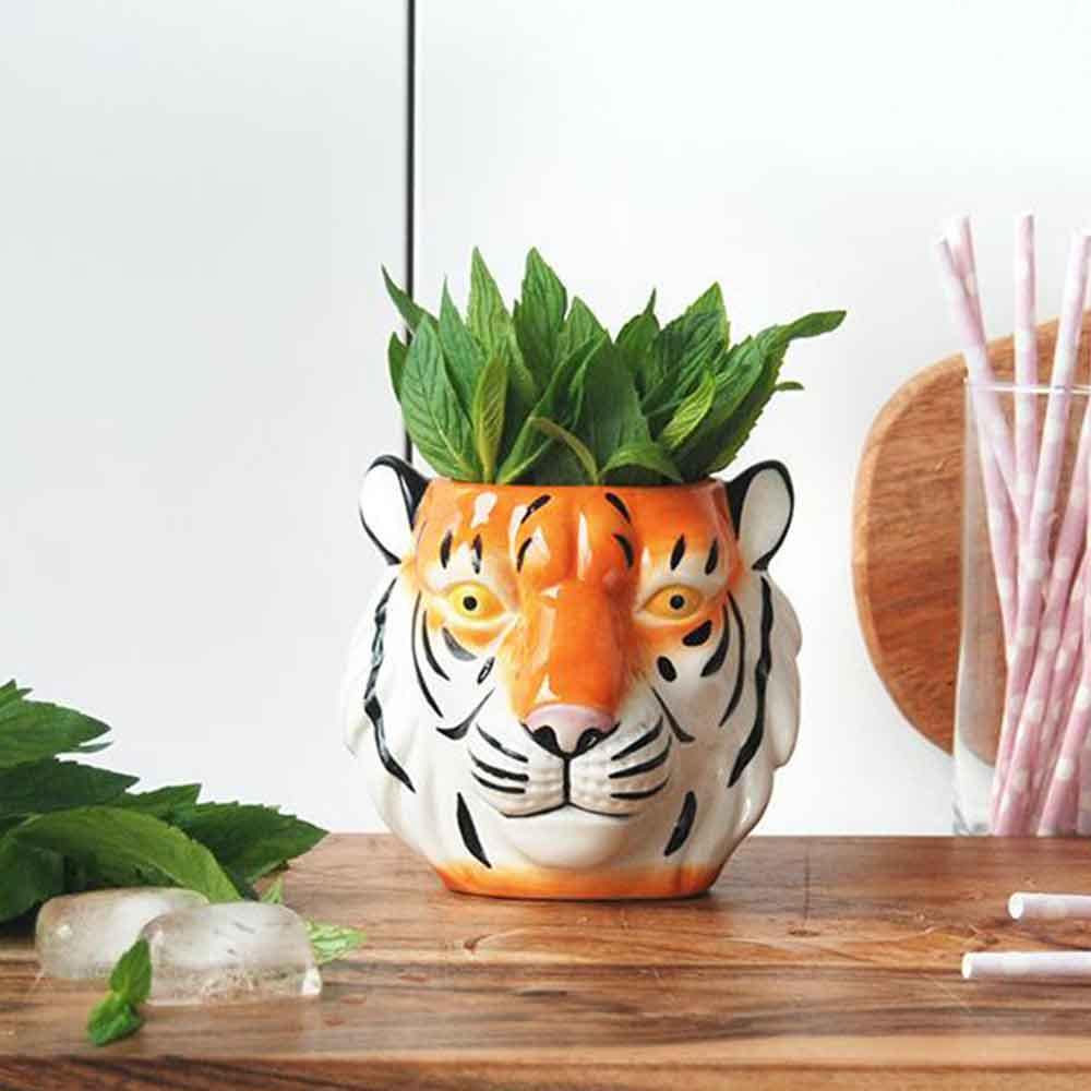Ceramic Tiger Planter Pot - White Moose