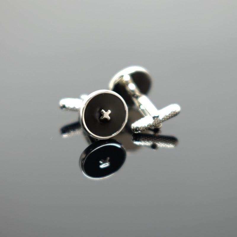Enamel Button Cufflink - Polished Silver