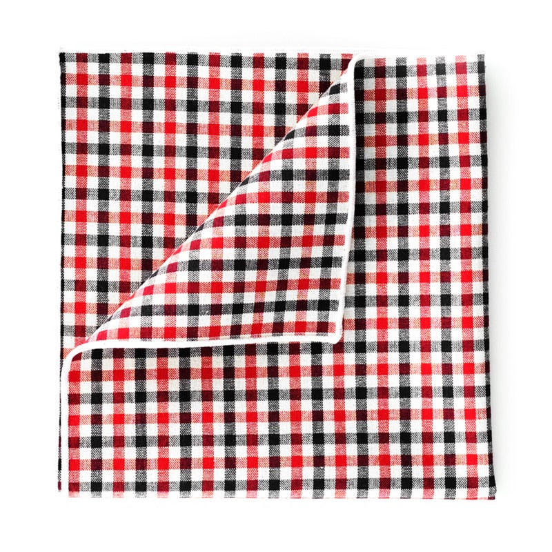 Gingham Cotton Pocket Square - Red