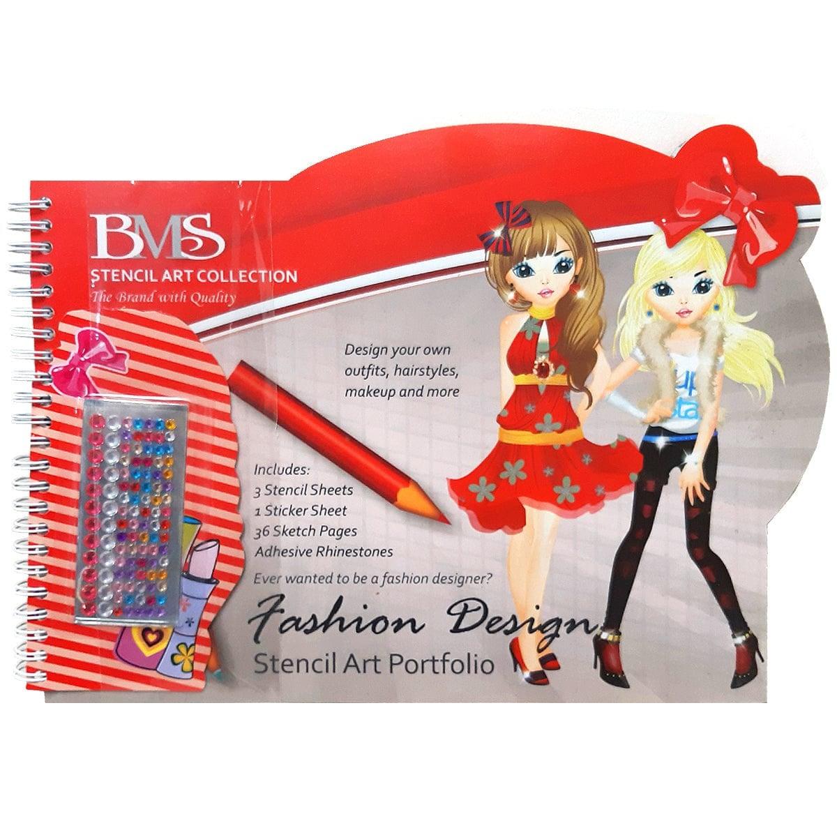 Fashion Design Folio With Pencils & Adhesive Appliques