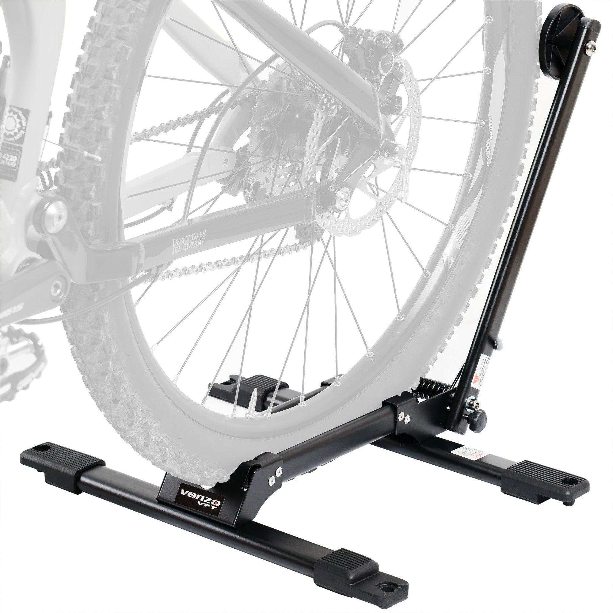 2 x Venzo Bicycle Floor Type Parking Rack Stand - For Mountain and Road Bike Indoor Outdoor Nook Garage Storage - With Connectors