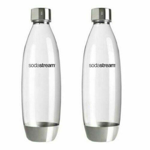 SodaStream 1L Carbonating Fuse Bottles Metal Set Of 2 In Package