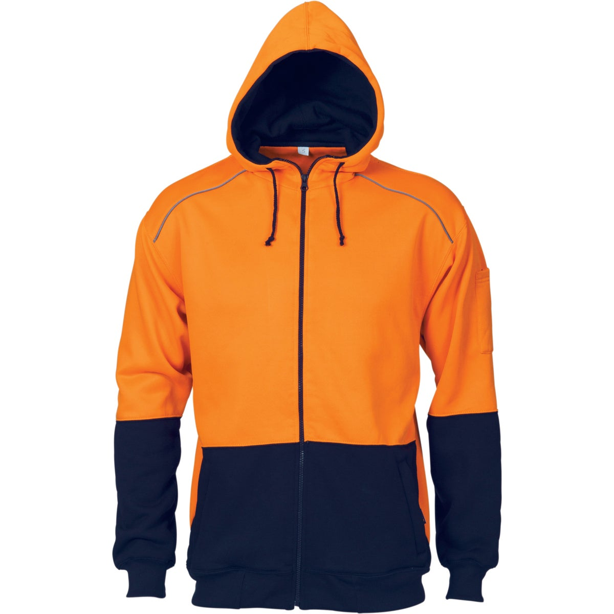 DNC HiVis Contrast Piping Fleecy Hoodie - Orange/Navy - 6XL