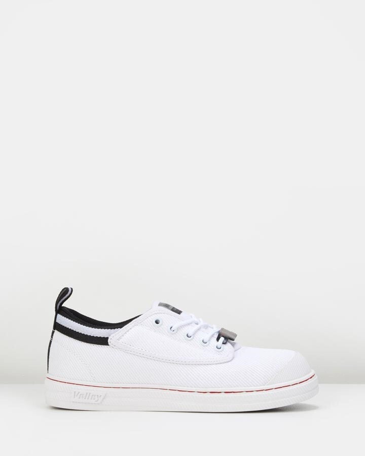 Volley Safety Canvas Shoe - White/Black - 4