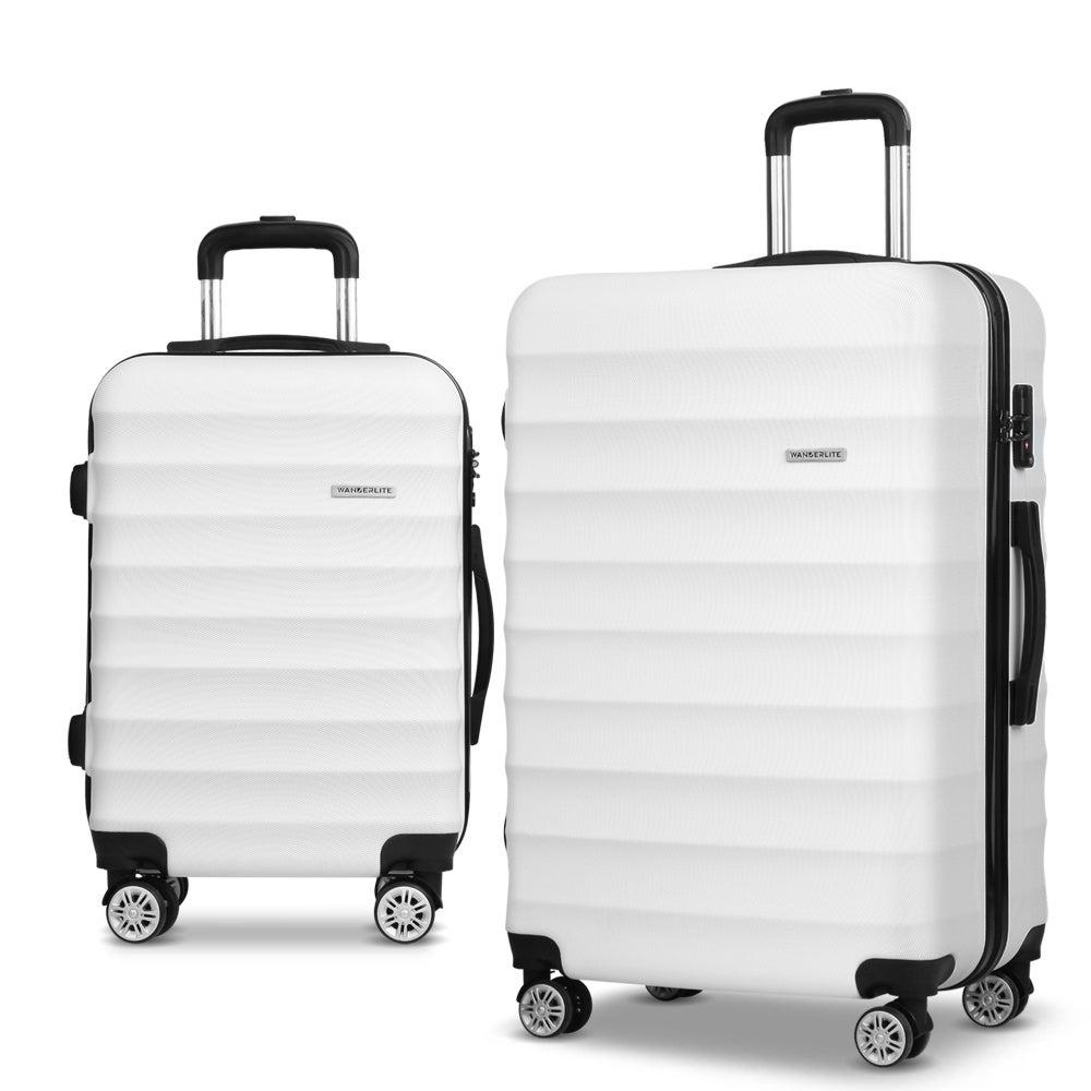 Wanderlite 2 Piece Hard Shell Lightweight Travel Luggage White