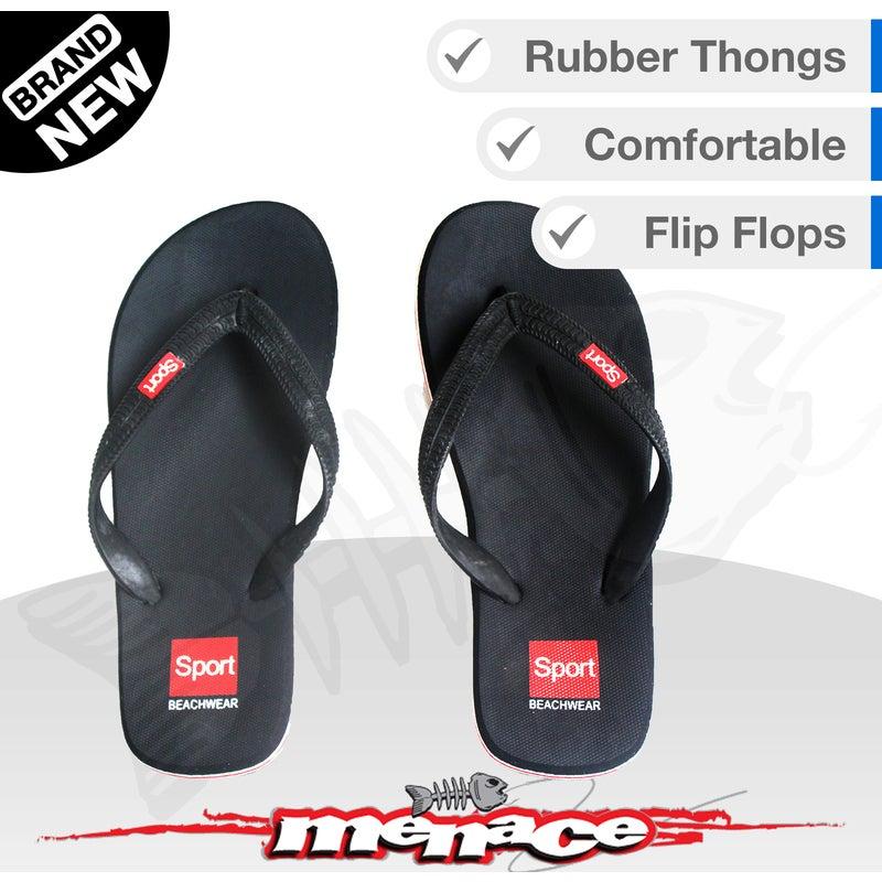 Mens Beach Thongs Flip Flops Sandals Boat Slippers - Black