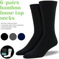 6 Pairs Premium Bamboo Loose Top Socks Diabetic Diabetes Circulation Eco Sox