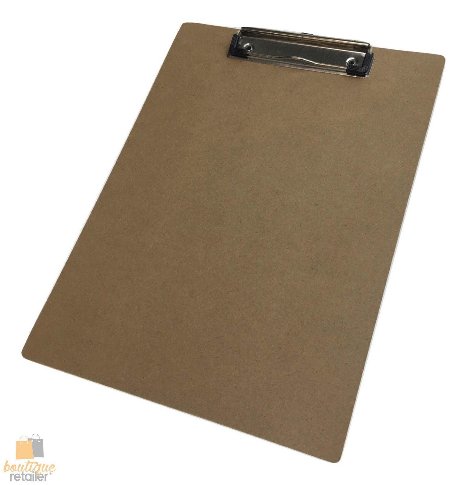 12x WOODEN A4 CLIPBOARD Hardboard Menu Clip Office Restaurant Writing Board BULK