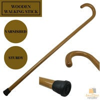 92cm WOODEN WALKING STICK Wood Cane Pole Carved Varnished Deluxe Quality Sturdy