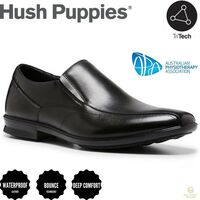 HUSH PUPPIES Callan Mens Leather Shoes Slip On Dress Business Work - EE
