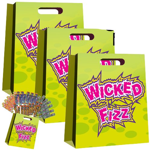 3x Wicked Fizz Kids Showbag Candy Confectionery Show Bag Gift Official Licensed