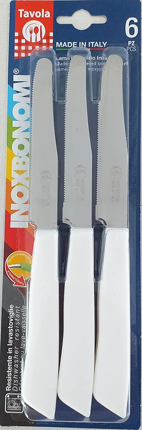 6x INOXBONOMI Stainless Steel Table Knifes Knife Cutlery Set - MADE IN ITALY