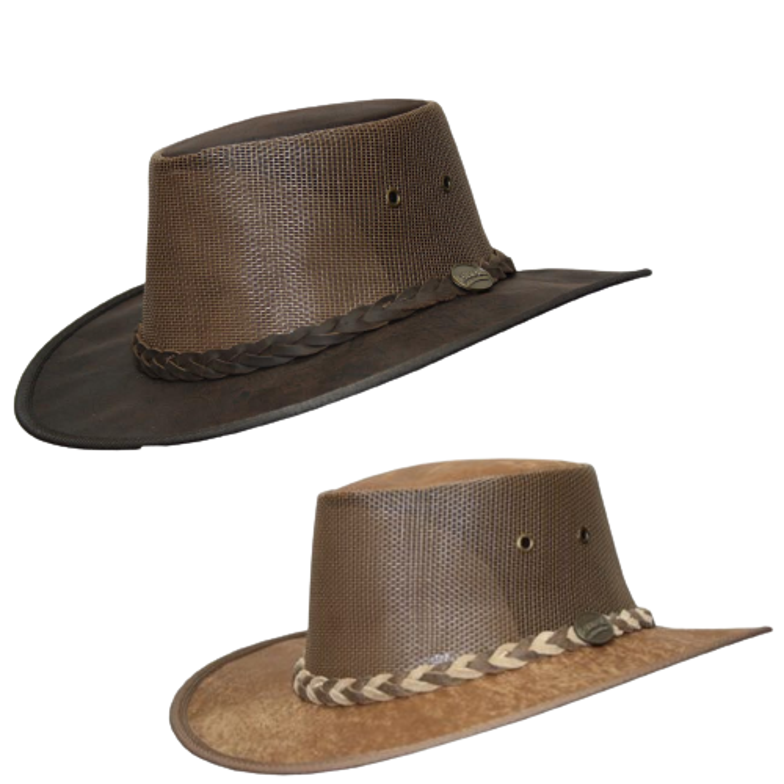 BARMAH Squashy Cooler Hat Kangaroo Leather OUTBACK Brim Foldable VENTED Mesh