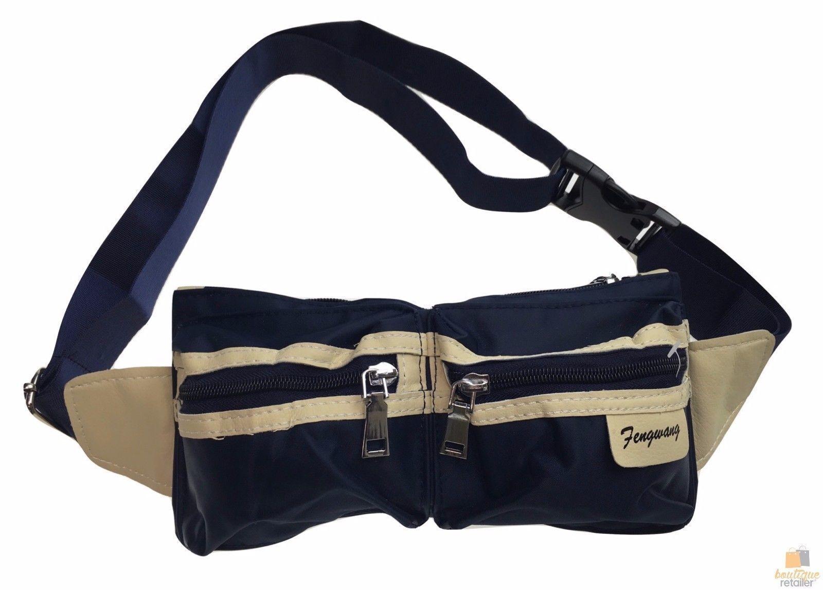 BUM BAG Waist Belt Pouch Travel Hiking Zip Pockets Money Wallet Leather Trim