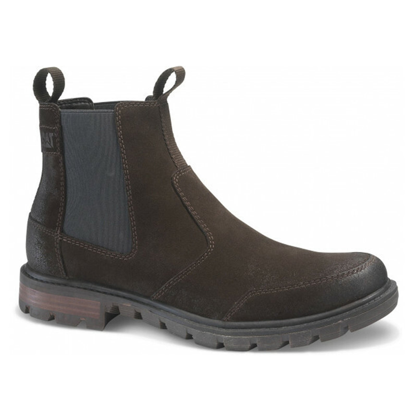 Caterpillar Men's Chelsea Leather Pull On Boots Shoes CAT Economist - Brown Tmoro
