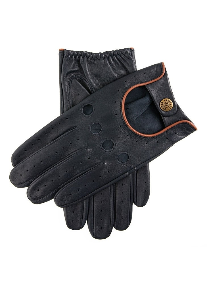 Dents Delta Men's Classic Leather Driving Gloves Classic Luxury - Navy/Tan