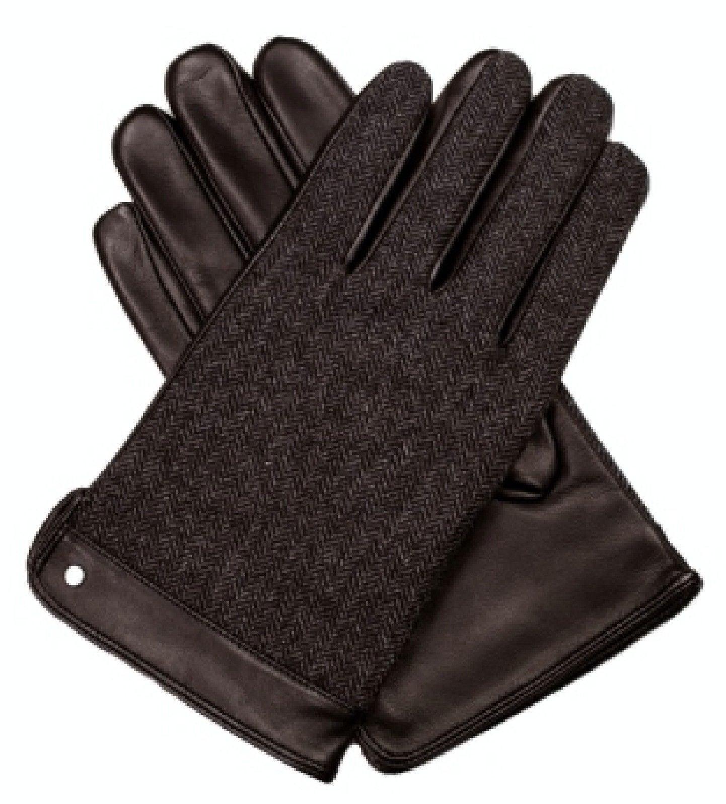 Dents Leather Wool Gloves Fleece Lined Warm New Mens Winter Herringbone - Brown