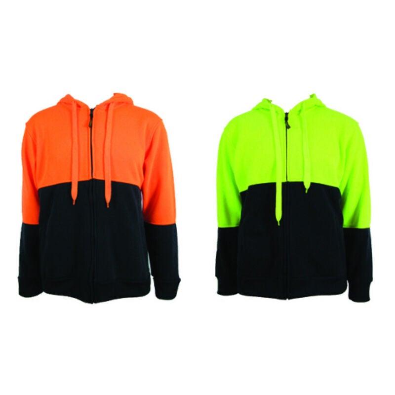 HI VIS Jumper Full Zip Hoodie Safety Workwear Fleecy Fleece Jacket Hooded