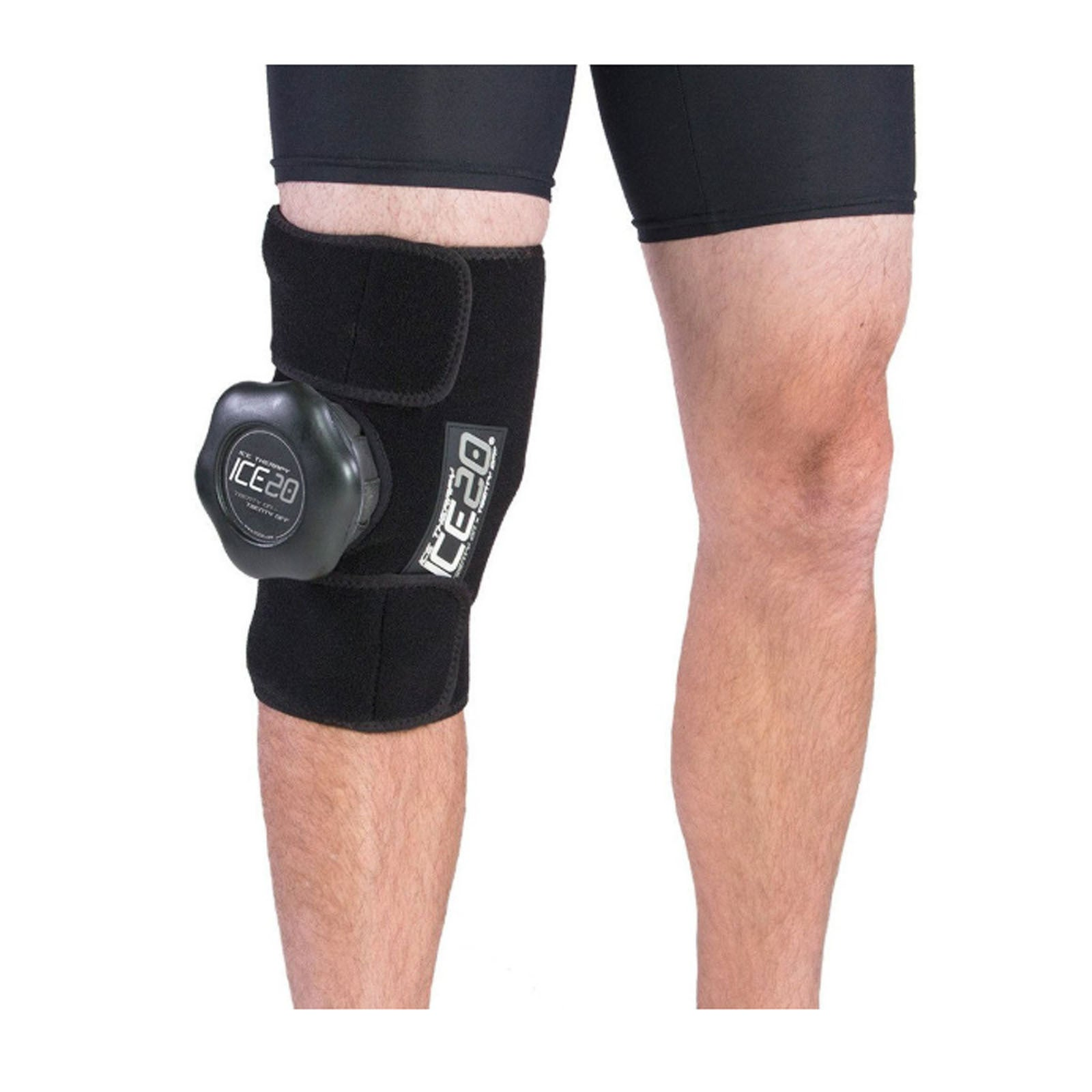 ICE 20 Large Single Knee Strap Compression Therapy Wrap Cold Pain Relief