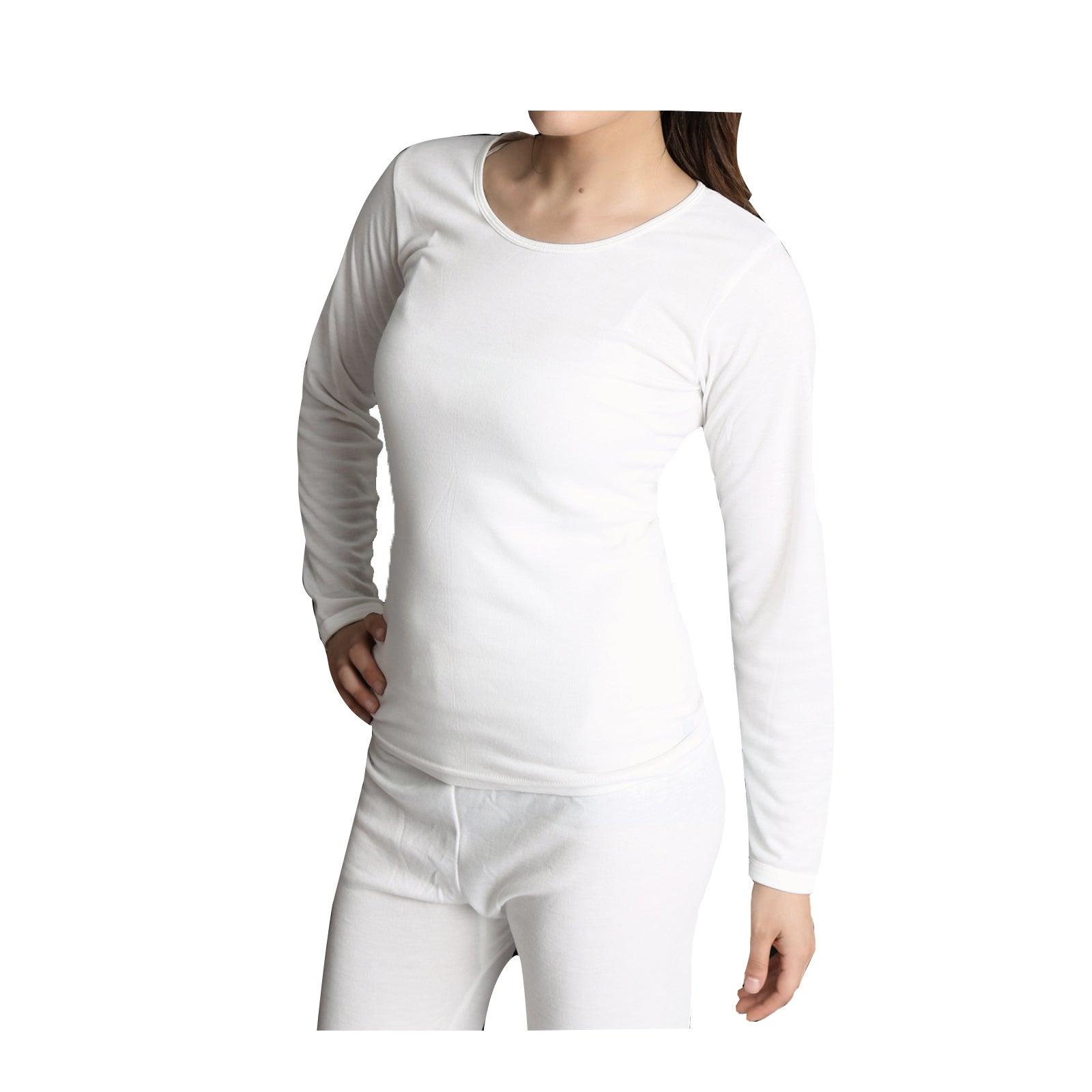 Ladies Merino Wool Blend Long Sleeve Thermal Spencer Top Underwear Thermals