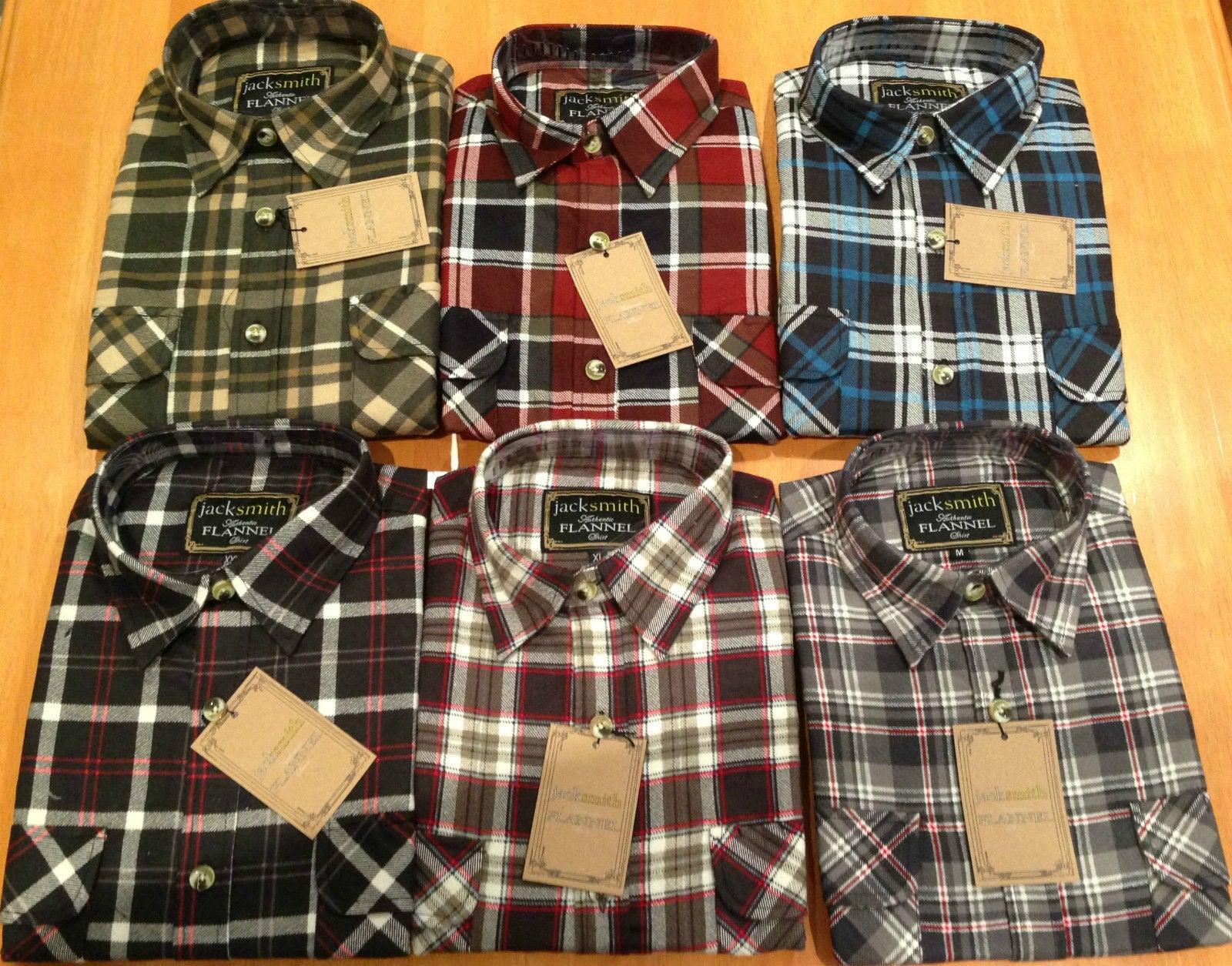 Men's FLANNELETTE SHIRT Check 100% COTTON Flannel Vintage Long Sleeve