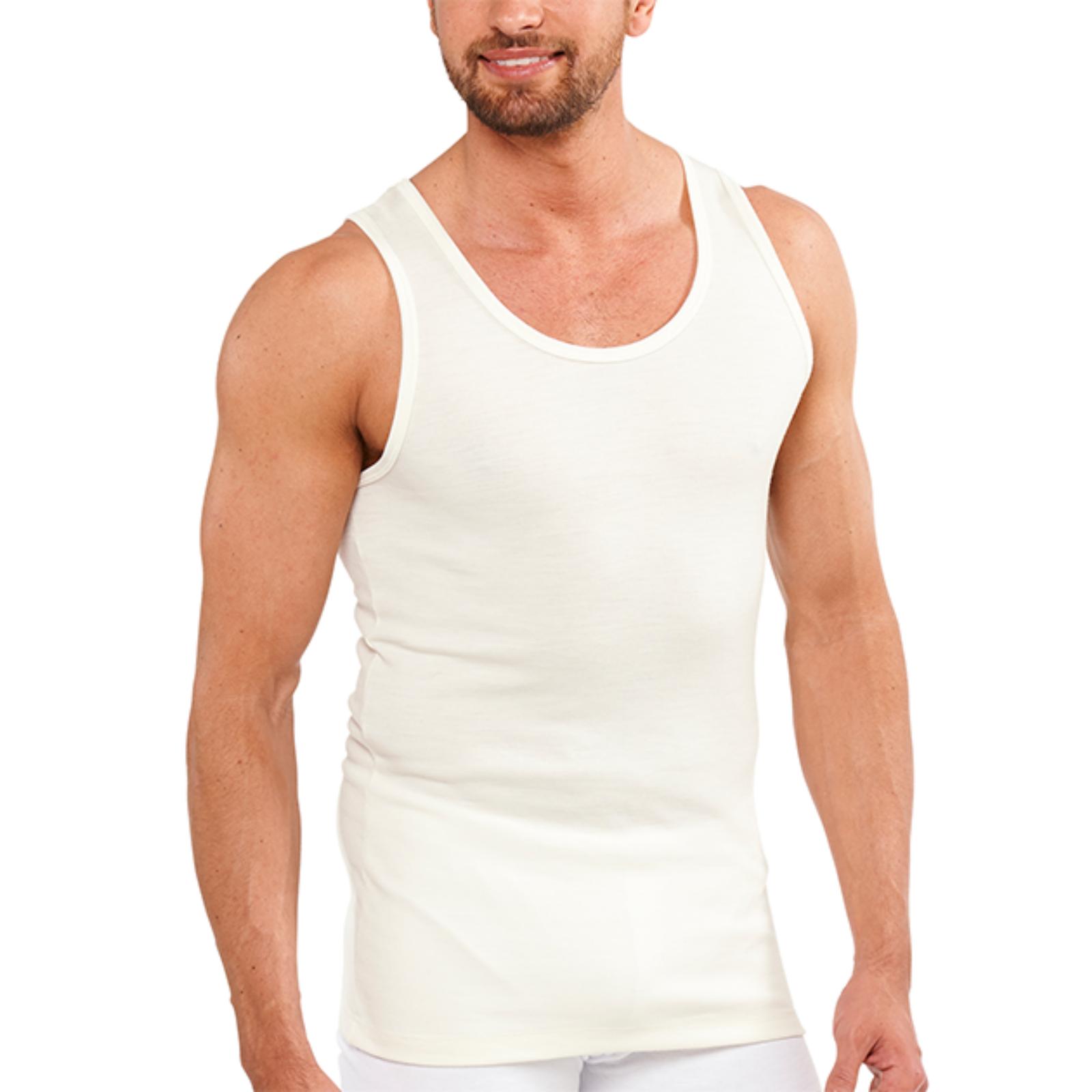 Men's THERMAL Merino Wool Blend Singlet Top Sleeveless Warm Underwear - Natural