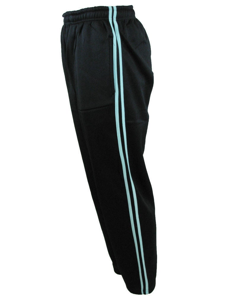 New Mens Microfiber Plain//Striped Basic Casual Sports Tracksuit Bottoms Trousers