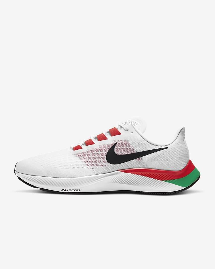 Nike Men's Air Zoom Pegasus Shoes 37 EK - White/Black-Chile Red-Lucky Green