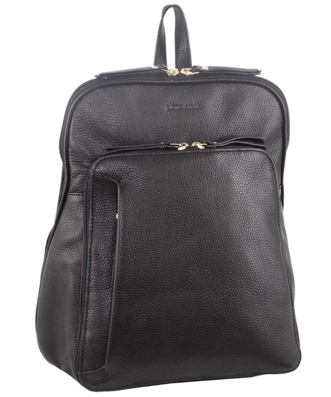 Pierre Cardin Women's Leather Backpack Bag with Pocket Front Multi-Zip
