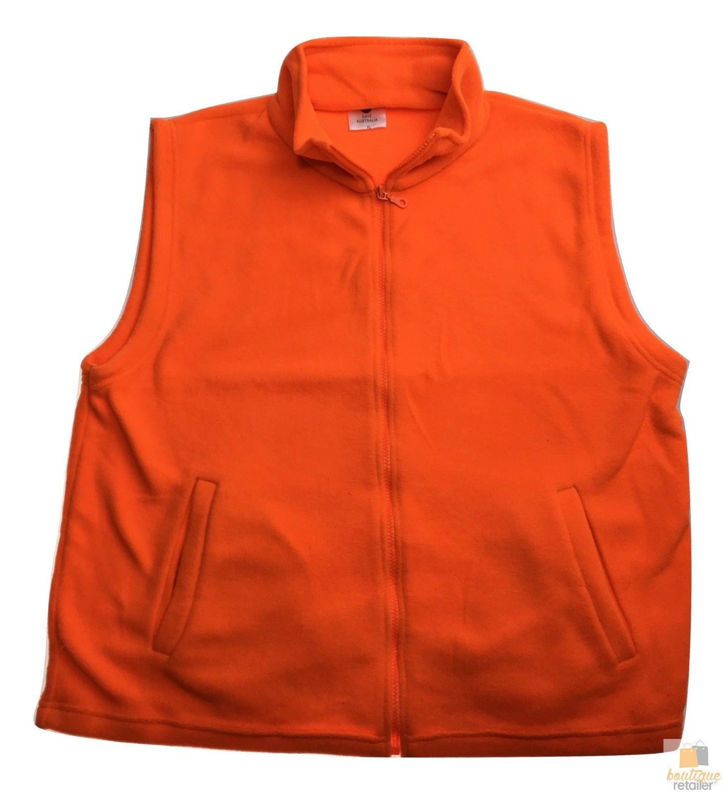 PLAIN HI VIS Polar Fleece Vest Full Zip Safety Workwear High Visibility Fleecy