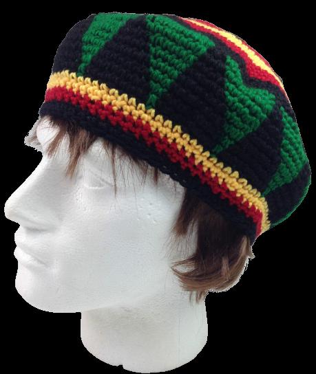 RASTA HAT Reggae BEANIE Cap Jamaican Hippie Tam Knitted Stretchy Knitted Beret