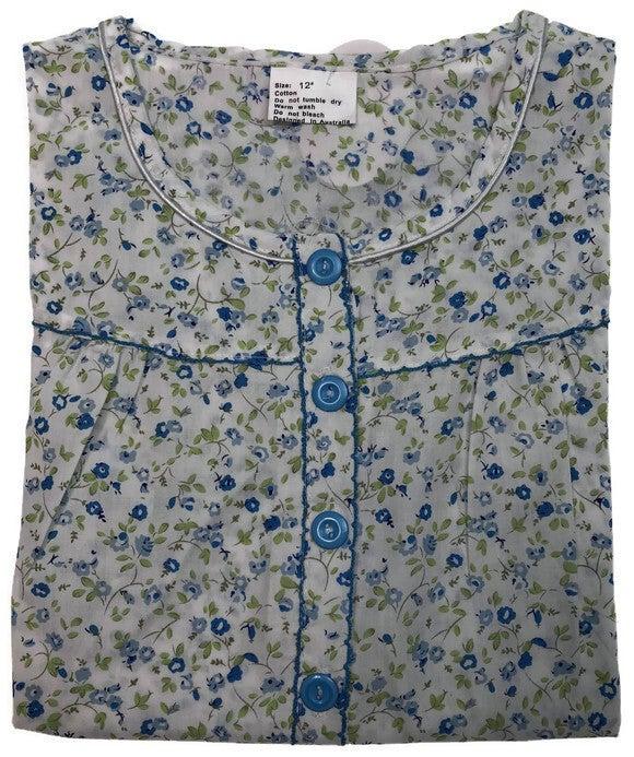 Women's 100% Cotton Short Sleeve Nightie Gown Night Sleepwear Pyjamas PJ Pajamas
