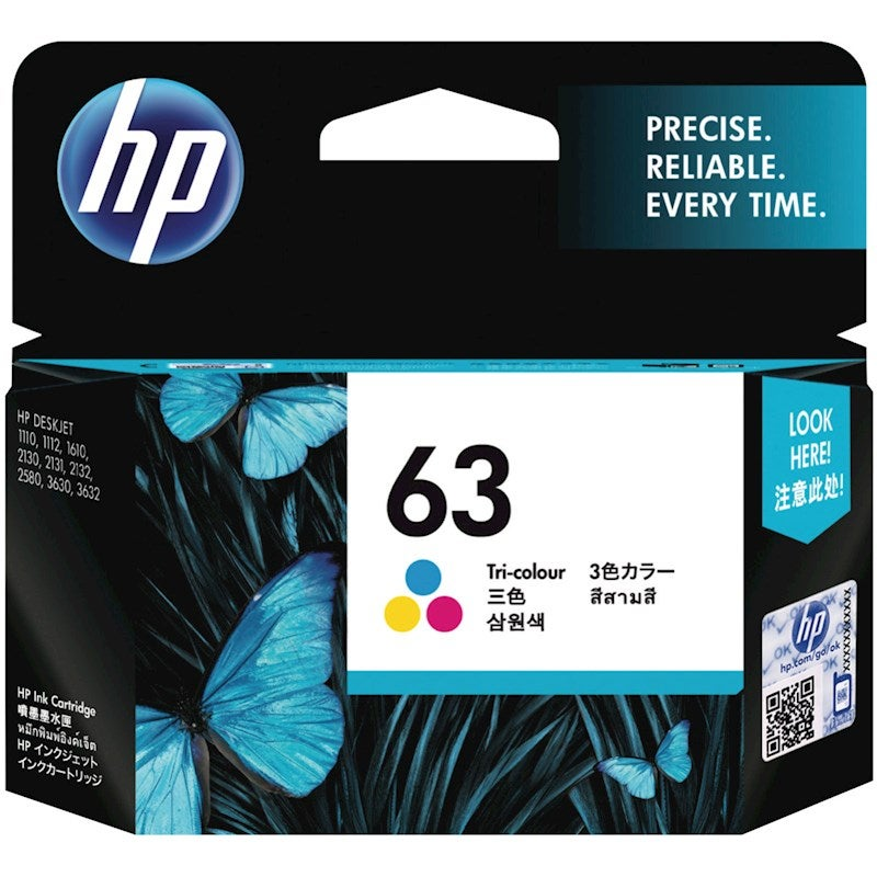 Hp #63 Tri Colour Ink - 165 Pages