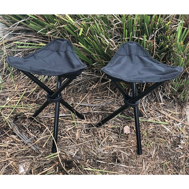 Compact Lifestyle 3 Leg Folding Camp Stool - Set of 2 with Carry Bag