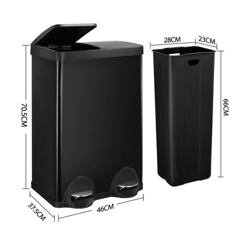 60l Dual Compartment Pedal Garbage Rubbish Bin Steel Shiny Black Kitchen Waste Trash Can Buy Kitchen Bins 890509