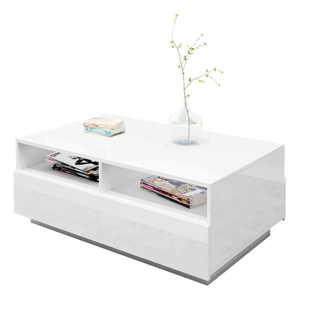 Contemporary High Gloss Coffee Table with 4 Drawers White