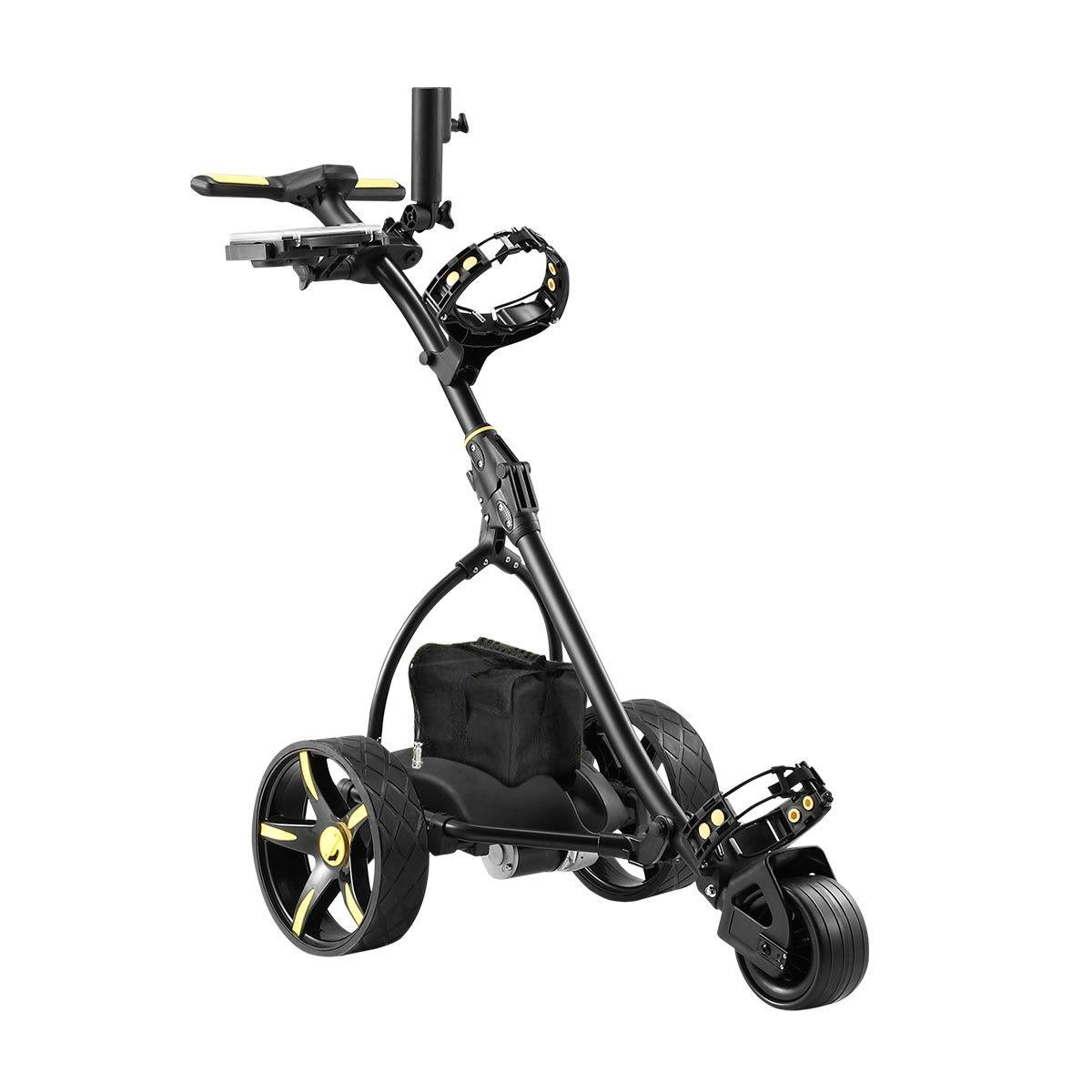 Electric Golf Trolley 3 Wheel Foldable Push Golf Buggy Cart 3 Distance Control LED Display Black