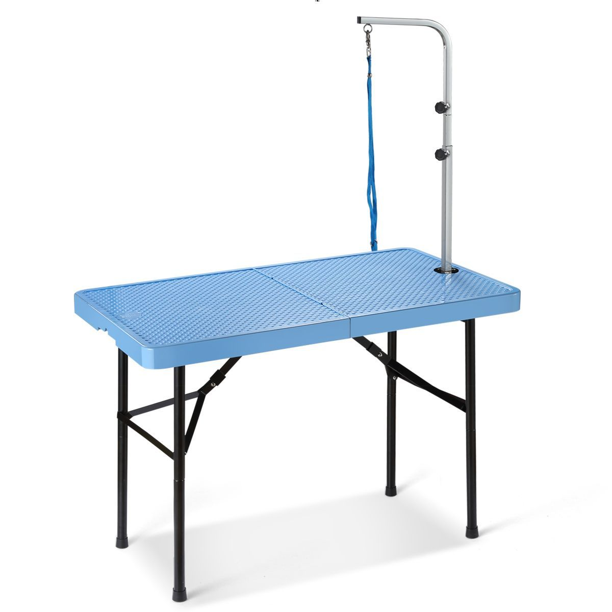 Pet Dog Grooming Table with Portable Handle and Adjustable Button Blue 75cm