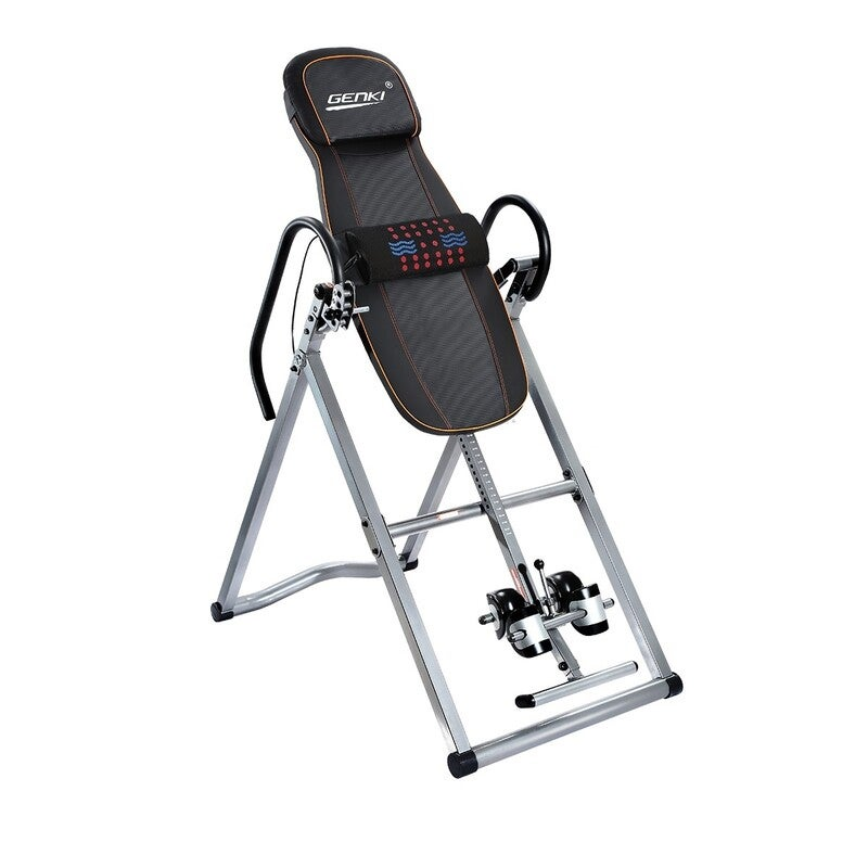 Genki Safe Massage Gravity Inversion Table Adjustable Foldable Back Invert with Lumbar Belt