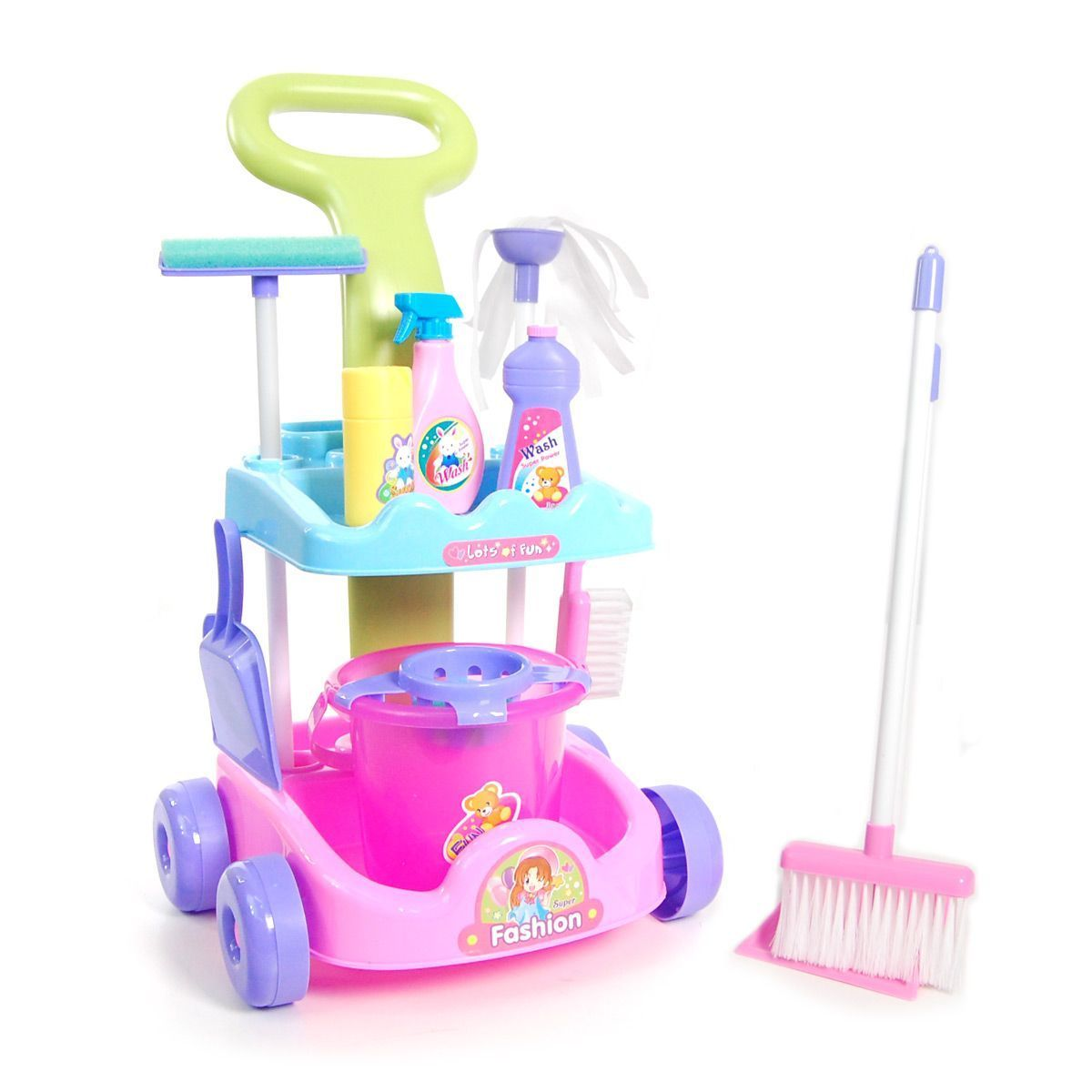 Multi Coloured Cleaning Trolley Kids Cleaner Play Set with Accessories