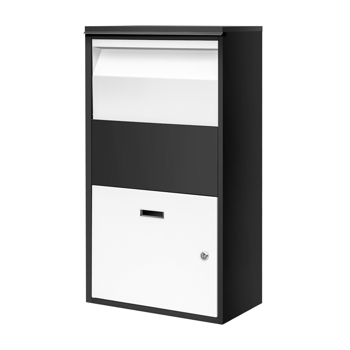 Metal Letter Box Lockable Post Mail Box Parcel Letterbox Mailbox for A4 Mail 30x18x18cm Package