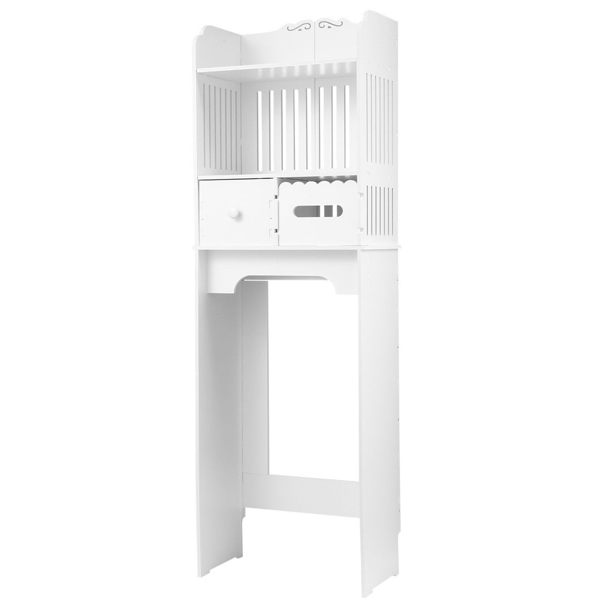 Over the Toilet Storage Cabinet Shelf Bathroom Organiser Stand White