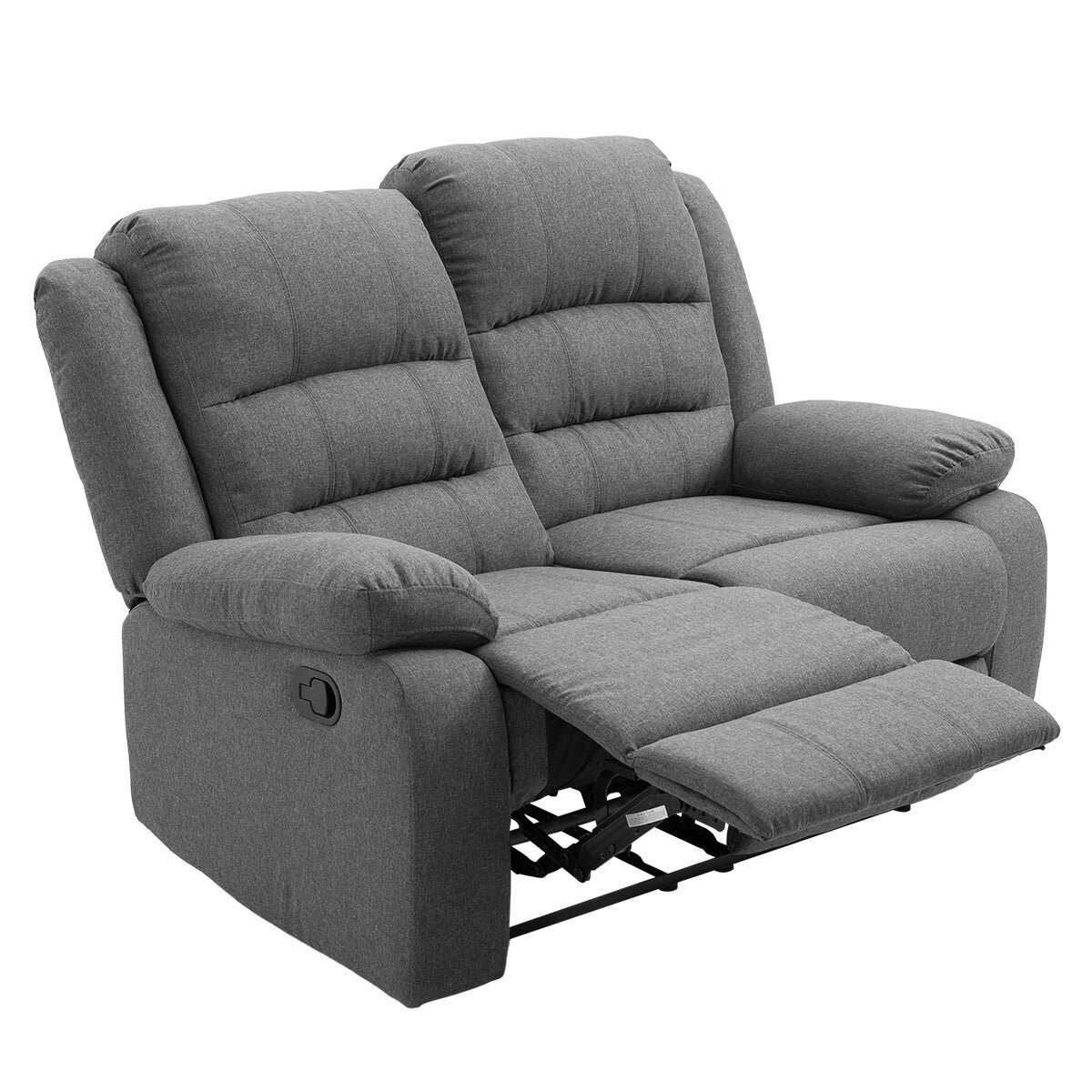 Soft Fabric Recliner Chair Sofa Lounge Armchair Grey Loveseat 2 Seater for Living Room Bedroom