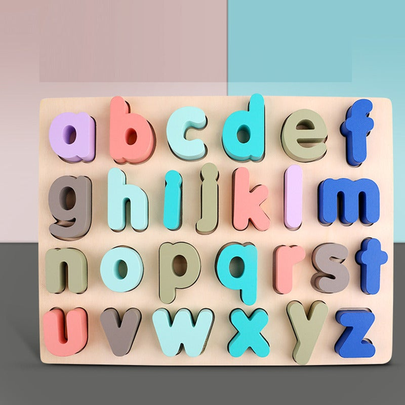 Montessori Wooden Puzzle Children Kid Early Educational Toys Alphabet Number-Lowercase Alphabet