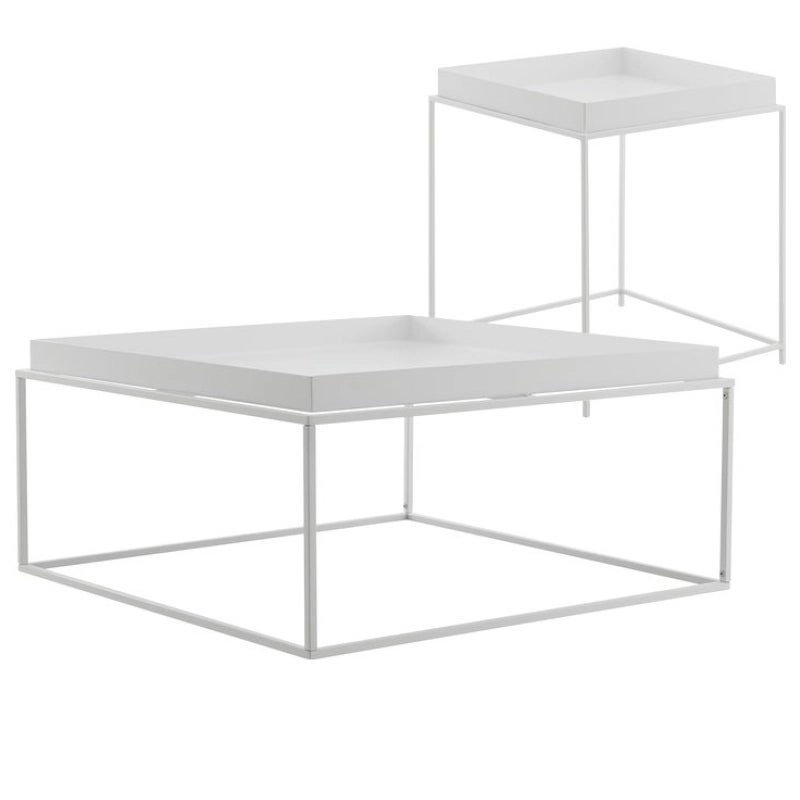 DukeLiving 2 Piece Florence Tray Top Coffee & Side Table (Black, White)