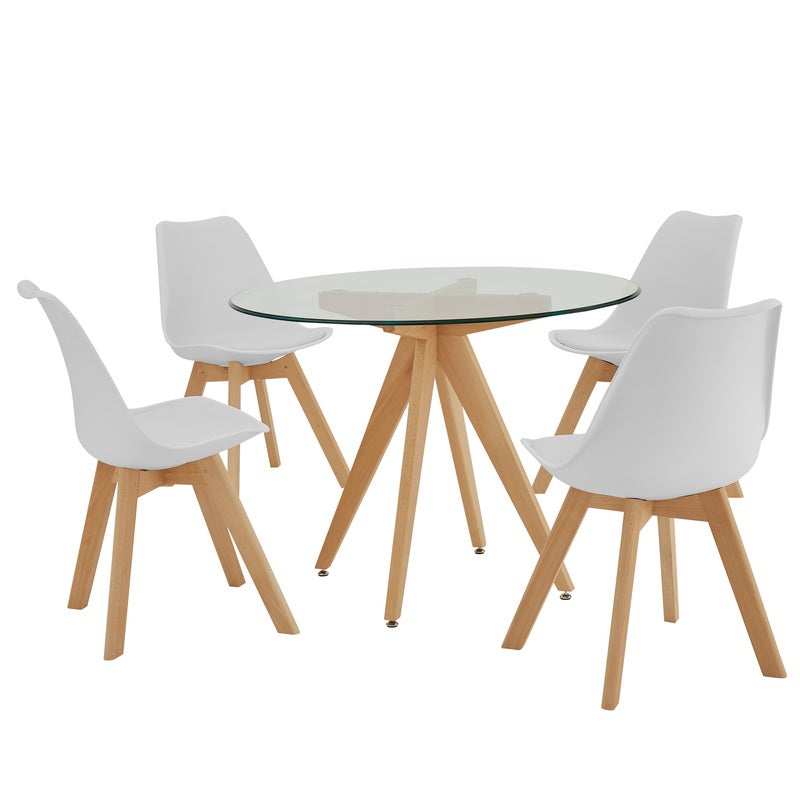 DukeLiving 4 Seater Natural Scandi & Eames Style Dining 5 Piece Set