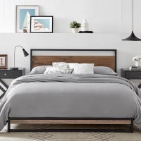 Dukeliving Boston Industrial Metal And Wood Platform Bed Frame With Headboard Modern Bed Head Slate Grey Wood Double Queen King Buy King Size Bed Frame 3033497