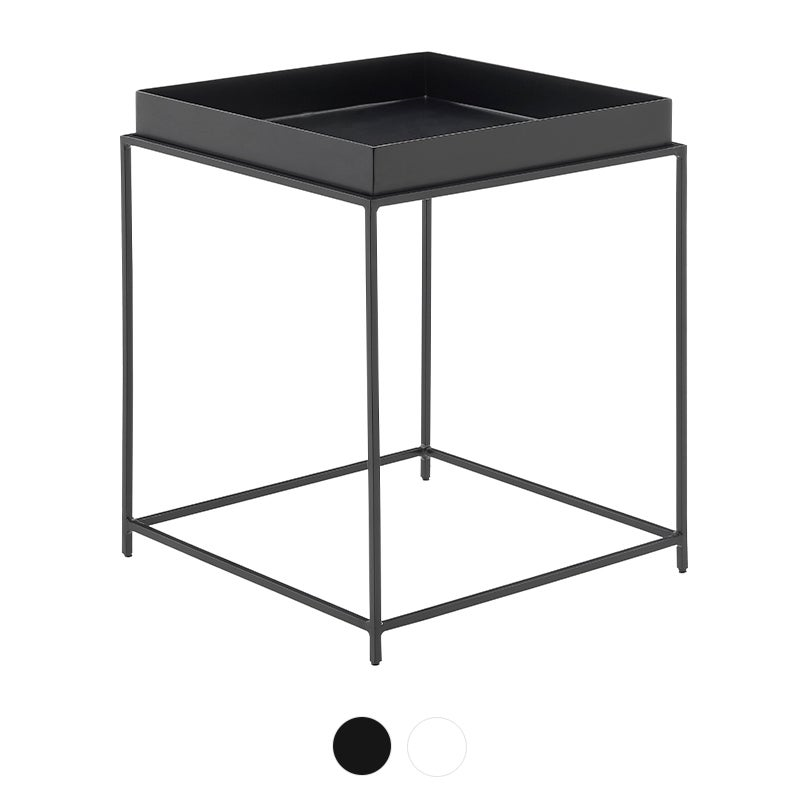 DukeLiving Florence Tray Top Steel Side Table (Black, White)